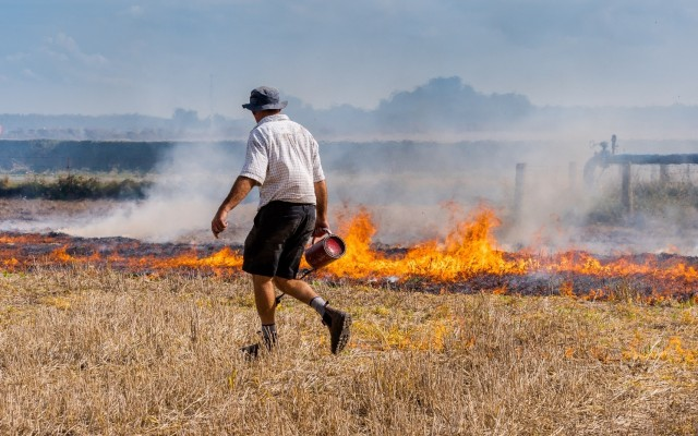 Farmer burning stubble